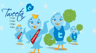 Tweeta Free Twitter Bird Icon Set