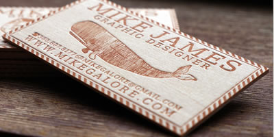 100qty Balsa Wood Letterpress Custom Business Cards