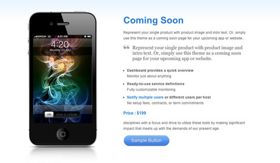 Coming soon Free WordPress template