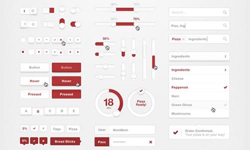 Pizza UI Kit - PSD