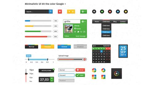 Kit UI minimalista do Google + cor
