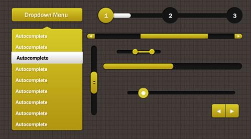PSD livre Amarelo Web UI Kit Elementos