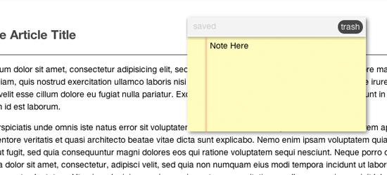 Notas de armazenamento usando CSS3