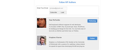 WordPress Plugin simples para seguir seus autores favoritos