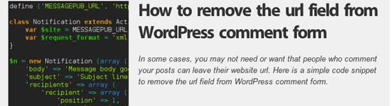 Como remover o campo url do WordPress formulário de comentário