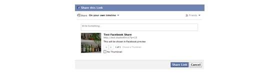 Compartilhe suas mensagens no Facebook com uma imagem de visualização e uma Descrição