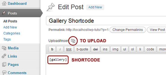 O WordPress Galeria Shortcode