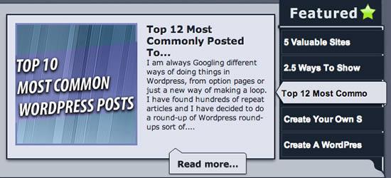 Fazendo um jQuery WordPress dinâmico destaque Tutorial Slider Mensagem